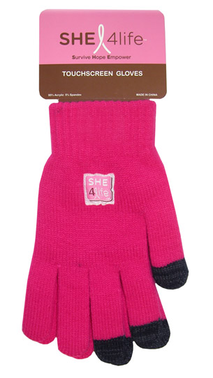 SHE 4Life Touch Screen Gloves Hot Pink with Black Finger Tips